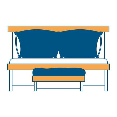 ソファベッド ダブル枕、白い背景のベクトル図に木製椅子色セクション シルエット、
