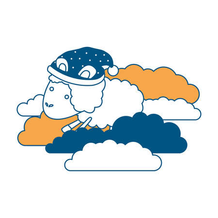 sheep animal with sleeping cap into the clouds color section silhouette on white background vector illustration