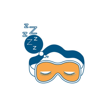 sleep mask with snoring sign in bubble callout color section silhouette on white background vector illustration