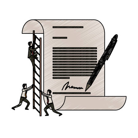 firma: businessman climbing wooden stairs in a big contract document with pen and firm in pencils colored silhouette vector illustration