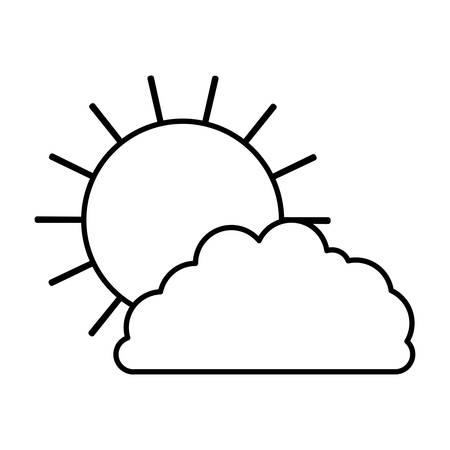 sun and cloud monochrome silhouette vector illustration royalty free