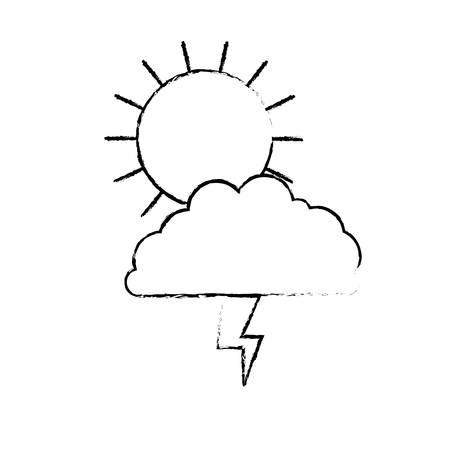 rainy season: sun cloud and lightning monochrome blurred silhouette vector illustration Illustration