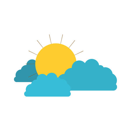 sun and clouds colorful silhouette vector illustration