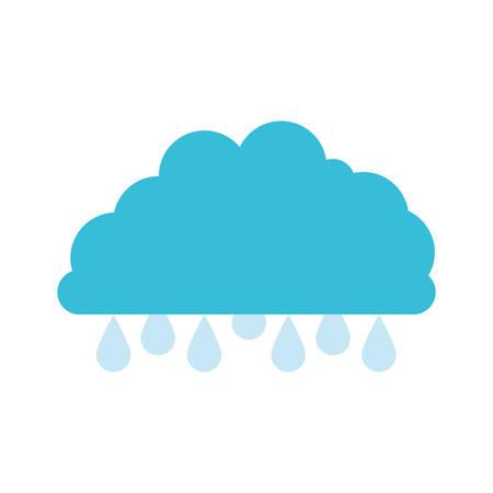 rainy season: cloud with raindrops colorful silhouette vector illustration