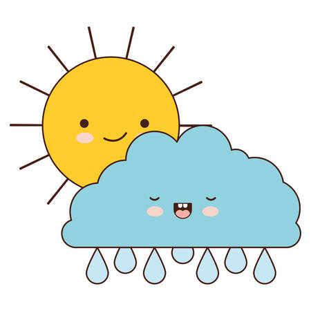 sun and cloud with drops rain colorful silhouette vector illustration Çizim