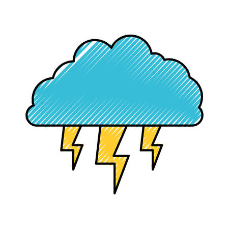 overcast: cloud with lightnings in colored crayon silhouette vector illustration