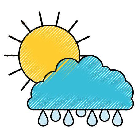 rainy season: Sun and cloud with drops rain colored crayon silhouette vector illustration