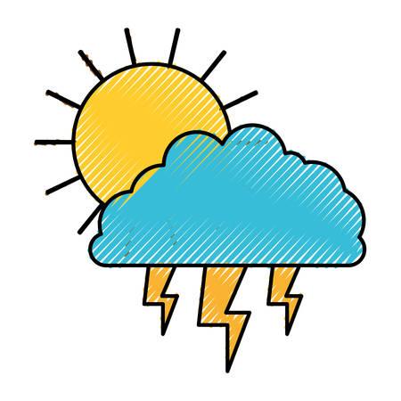 rainy season: Sun cloud and lightning colored crayon silhouette vector illustration