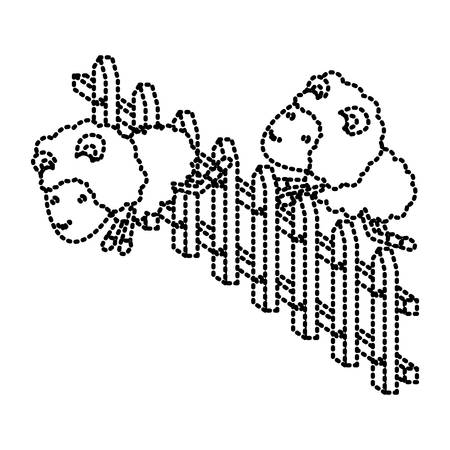 sheep animal couple jumping a wooden fence dotted silhouette on white background vector illustration