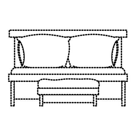 Sofa bed with double pillows and wooden chair dotted silhouette on white background vector illustration