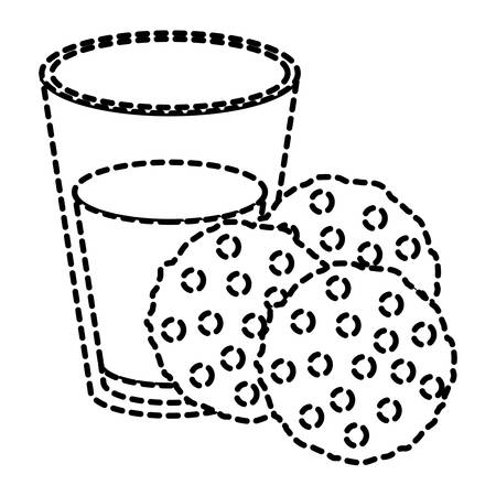 pasteurized: Chocolate chip cookies with glass of milk dotted silhouette on white background vector illustration