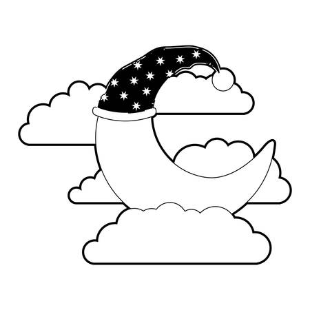 moon half caricature with sleeping cap into the clouds black color section silhouette on white background vector illustration