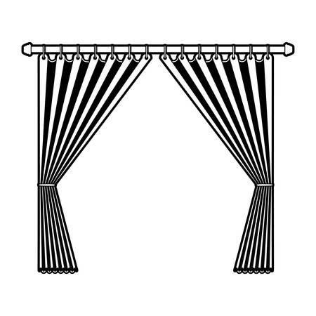 curtain opened decorative of room holding in a pole black color section silhouette on white background Illustration