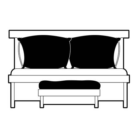 sofa bed with double pillows and wooden chair black color section silhouette on white background vector illustration Illustration