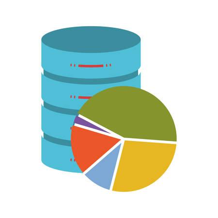 statistics data base colorful silhouette on white background vector illustration Illustration