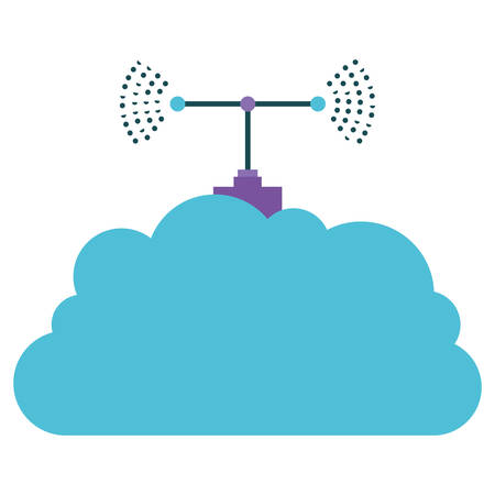 cloud storage with antenna colorful silhouette on white background vector illustration