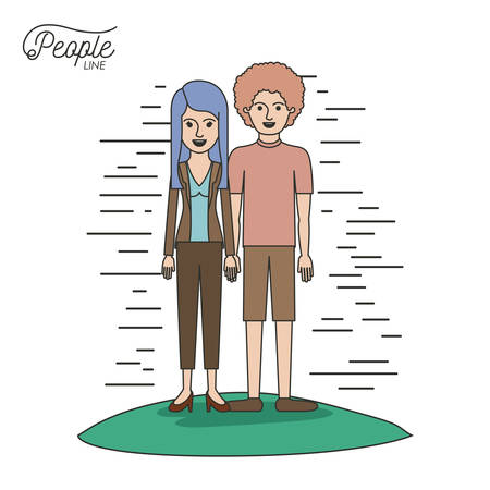 caricature couple people line casual clothes guy curly hair and woman with straight hairstyle standing in formal suit in grass on white background vector illustration