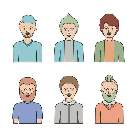 caricature half body male people with differents hairstyle set on white background vector illustration Illustration