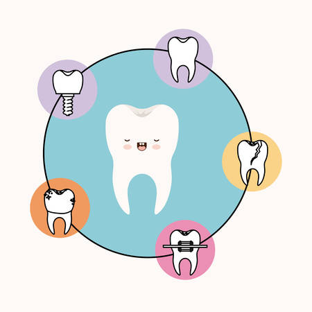 premolar: tooth caricature with eyes closed and smiling expression with circular frame icons dental care on white background vector illustration