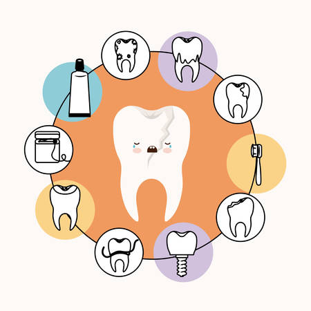 caricature broken tooth dental care with crying expression with circular frame icons dental care on white background vector illustration Illustration