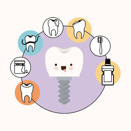 premolar: tooth implant with screw dental care caricature with tongue out expression with circular frame icons dental care on white background vector illustration
