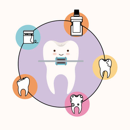 caricature tooth with brace dental care with happiness expression with circular frame icons dental care on white background vector illustration