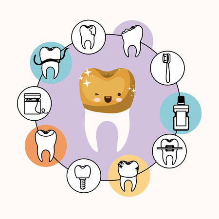 premolar: caricature tooth with golden crown with wink eye and happiness expression with circular frame icons dental care on white background vector illustration
