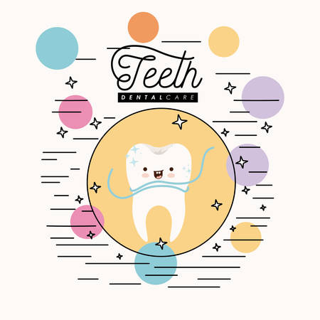 premolar: caricature clean tooth dental care with floss smiling expression in circular frame with colorful bubbles and star with lines on white background vector illustration