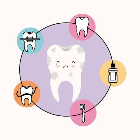 premolar: caricature dirty tooth dental care with sad and crying expression with circular frame icons dental care on white background vector illustration