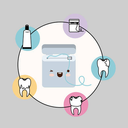 dental floss box with happiness expression with circular frame icons dental care on gray background vector illustration