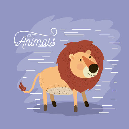 Cartoon drawn of animal lion with lines illustration 向量圖像