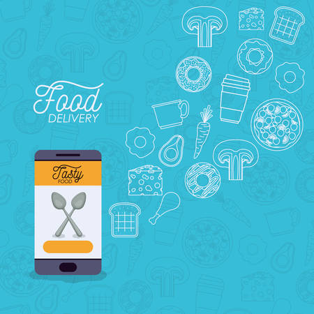 Food delivery poster with foods application.