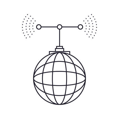 global grid map with antenna monochrome silhouette on white background vector illustration Illustration