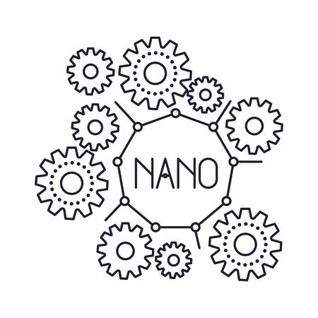 set gear machinery with nano text in center monochrome silhouette on white background vector illustration