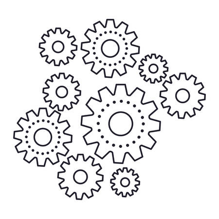 set gear machinery monochrome silhouette on white background vector illustration