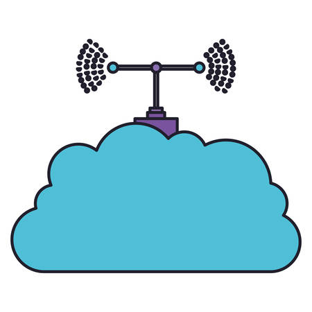 cloud service and transmission antenna icon in colorful silhouette with thick contour vector illustration Illustration