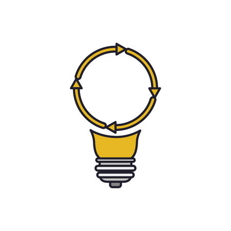 light bulb with reload icon colorful silhouette with thick contour vector illustration Illustration