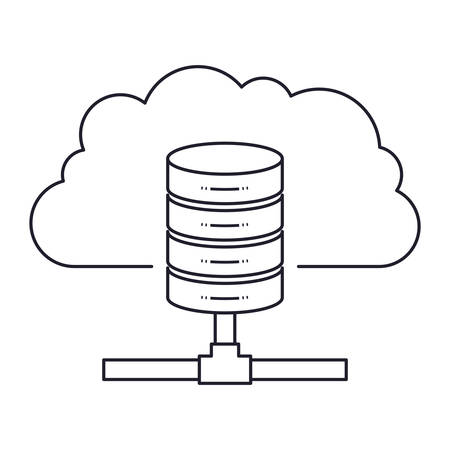 Cloud and network server storage icon.