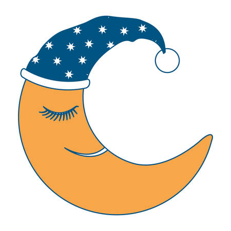 moon half caricature with sleeping cap silhouette on white background
