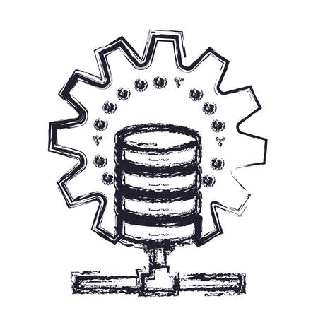 gears: data base center icon in blurred silhouette vector illustration Illustration