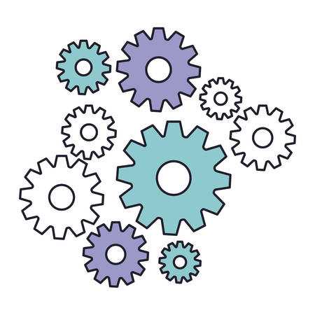 set gear machinery in color silhouette vector illustration Illustration