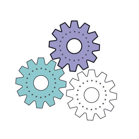 set gear machinery icon in color section silhouette vector illustration