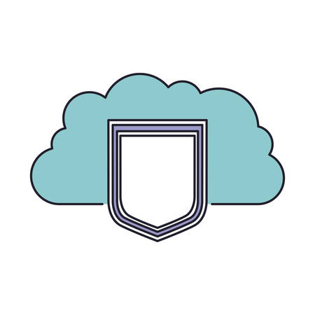 cloud storage data protection shield icon in color section silhouette vector illustration