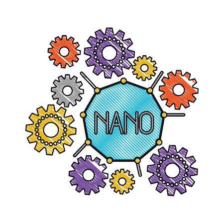 set gear machinery around of nano molecule in color crayon silhouette vector illustration