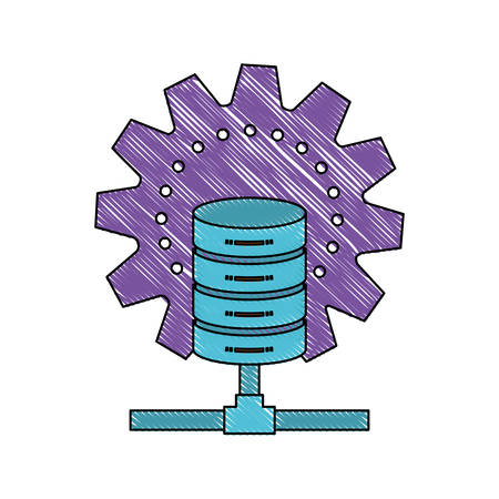 gears: data base center icon in color crayon silhouette vector illustration Illustration