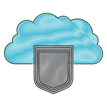 server hosting storage icon in color crayon silhouette vector illustration