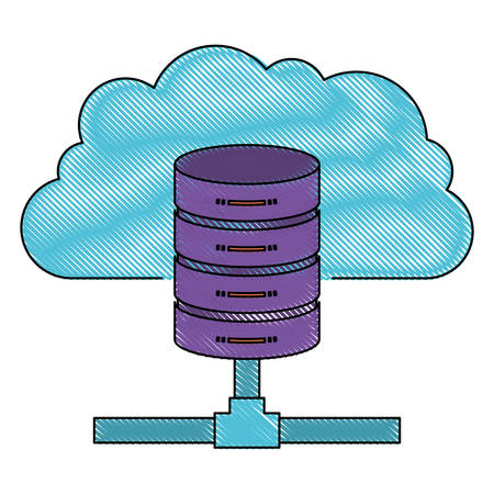 A cloud and network server storage icon in color crayon silhouette vector illustration. Illustration