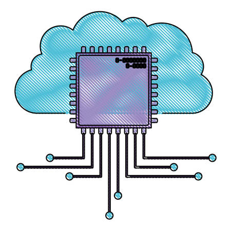 cloud storage data and cpu microprocessor icon in color crayon silhouette vector illustration