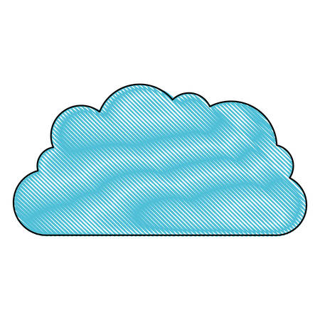 cloud storage data service icon in color crayon silhouette vector illustration