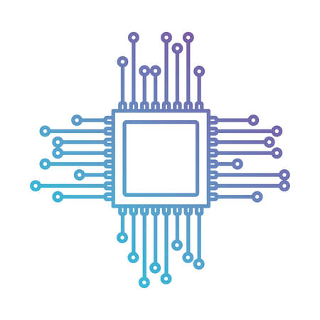 mobile device: microchip icon in color gradient silhouette from purple to blue vector illustration